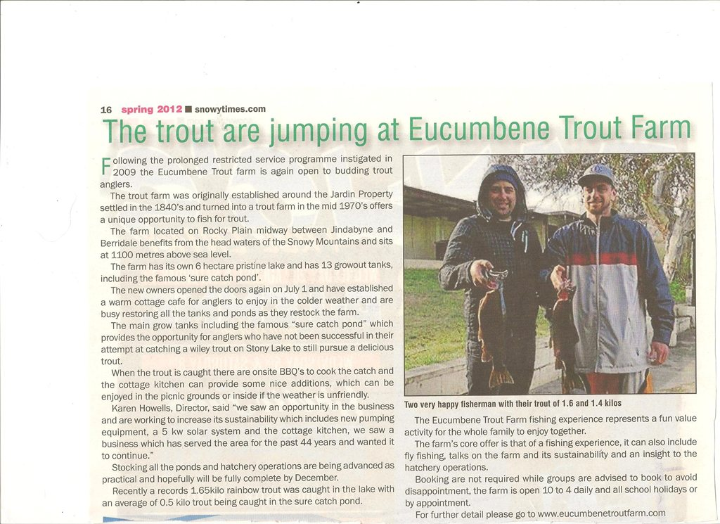 Article about Eucumbene Trout Farm in the Snowy Times, October 2012