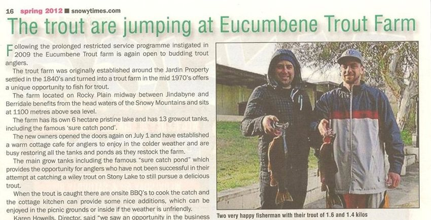 Eucumbene Trout Farm in the news