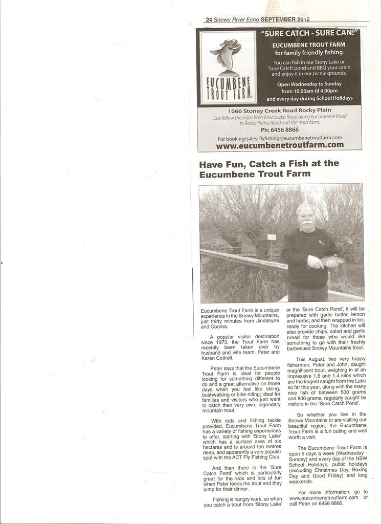 Article about Eucumbene Trout Farm in the Snowy River Echo, September 2012