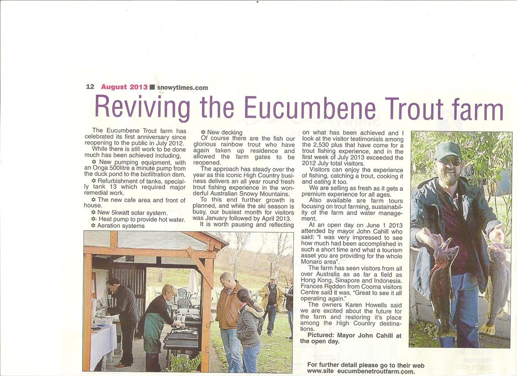 Article 'Reviving the Eucumbene Trout Farm' from The Snowy Times